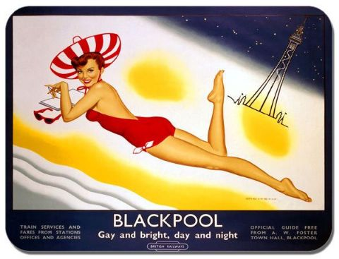 Blackpool Vintage Railway Pin up Poster Mouse Mat. Train Travel Mouse Pad Gift